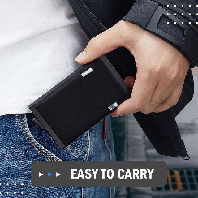 Portefeuille Pop-Up pour hommes et femmes, carte d'identité RFID, Mini paquet, sac de rangement d'équipement de protection en aluminium et métal, à dégagement rapide intelligent 5