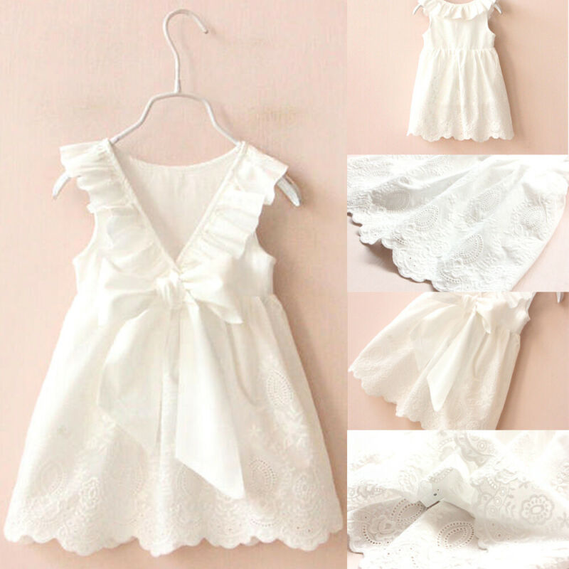 1-7Y Kids Baby Girls Dress Summer Toddler Clothes Lace Cotton Back Bow White Baby Girl Princess Tutu Dress Children Clothes