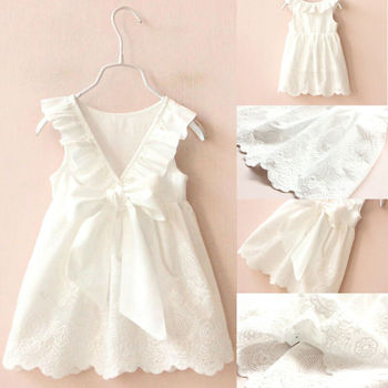 1-7Y Kids Baby Girls Dress Summer Toddler Clothes Lace Cotton Back Bow White Baby Girl Princess Tutu Dress Children Clothes new spring style girl dress kids clothes lace layer bow baby dress for girls children clothing princess tutu party dresses