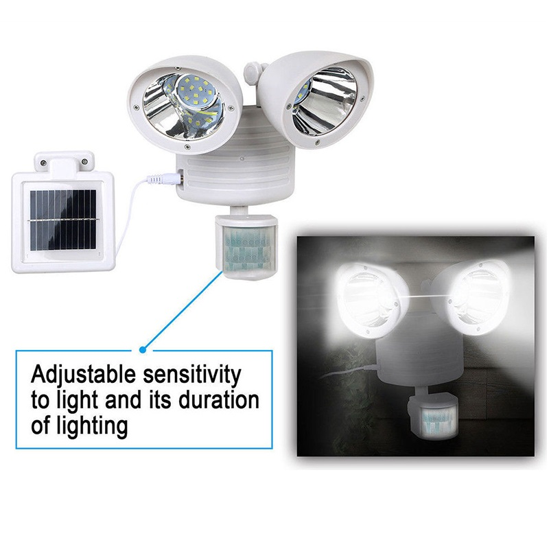 22 LED Double-Headed Solar Light Motion Body Sensor Security Wall Lamp Outdoor Garden Spotlight @8 JDH99