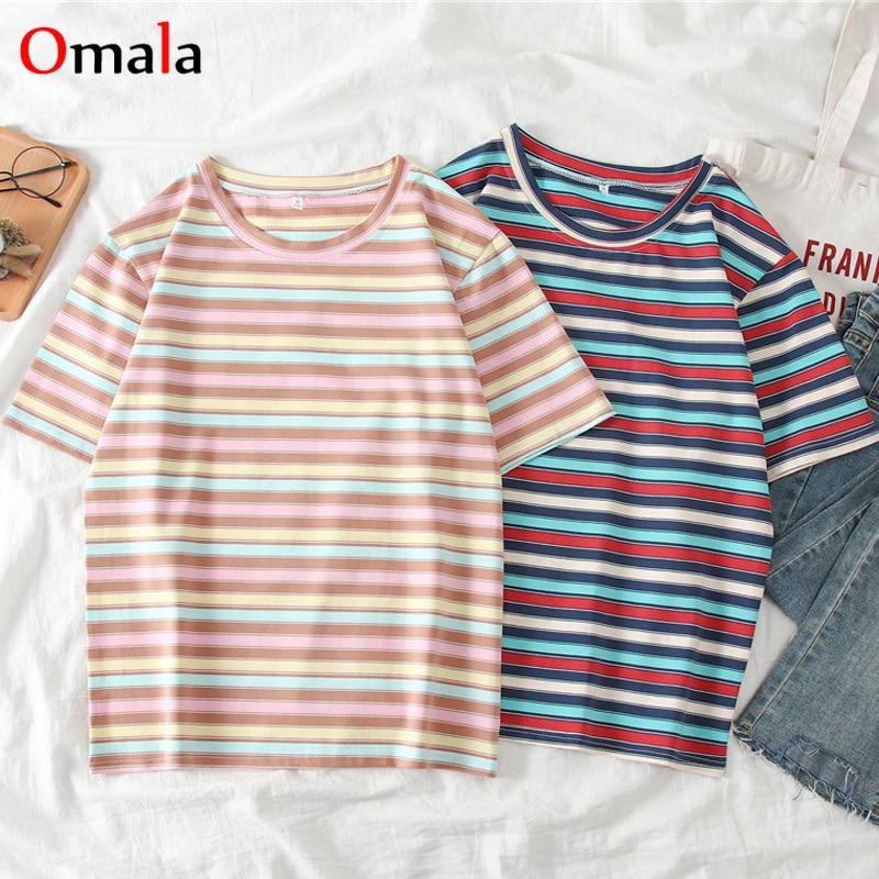 Korean Style Kawaii T-shirt Women Summer Clothing Ulzzang Harajuku Striped Short Sleeve T-shirts Woman Casual Basic TShirt Tops