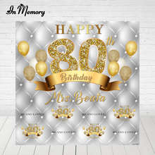 InMemory การถ่ายภาพพื้นหลัง Silver Gold Glitter บอลลูนผู้ใหญ่ Happy 80วันเกิด Party ฉากหลังสำหรับ Photo Studio ผู้ผลิต