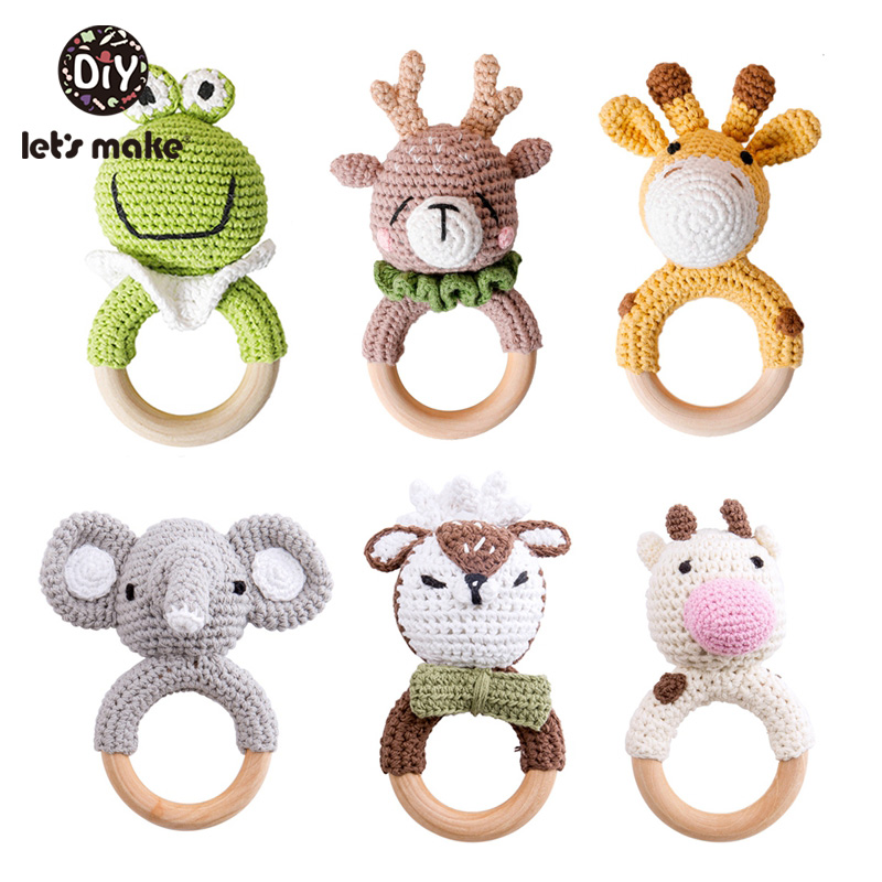 1pc Crochet Amigurumi Elephant Owl Rattle Bell Custom Newborn Pacifier Clip Montessori Baby Toys Educational Baby Rattle Product