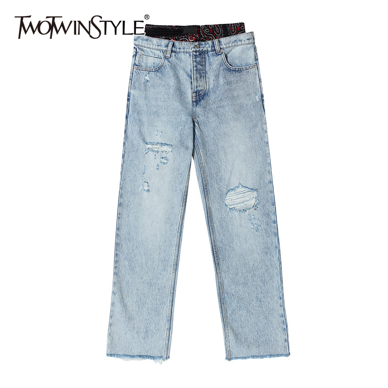 TWOTWINSTYLE Patchwork Hit Color Jean Women High Waist Ripped Hole Casual Hit Color Pant Female Clothees 2020 Spring Fashion New