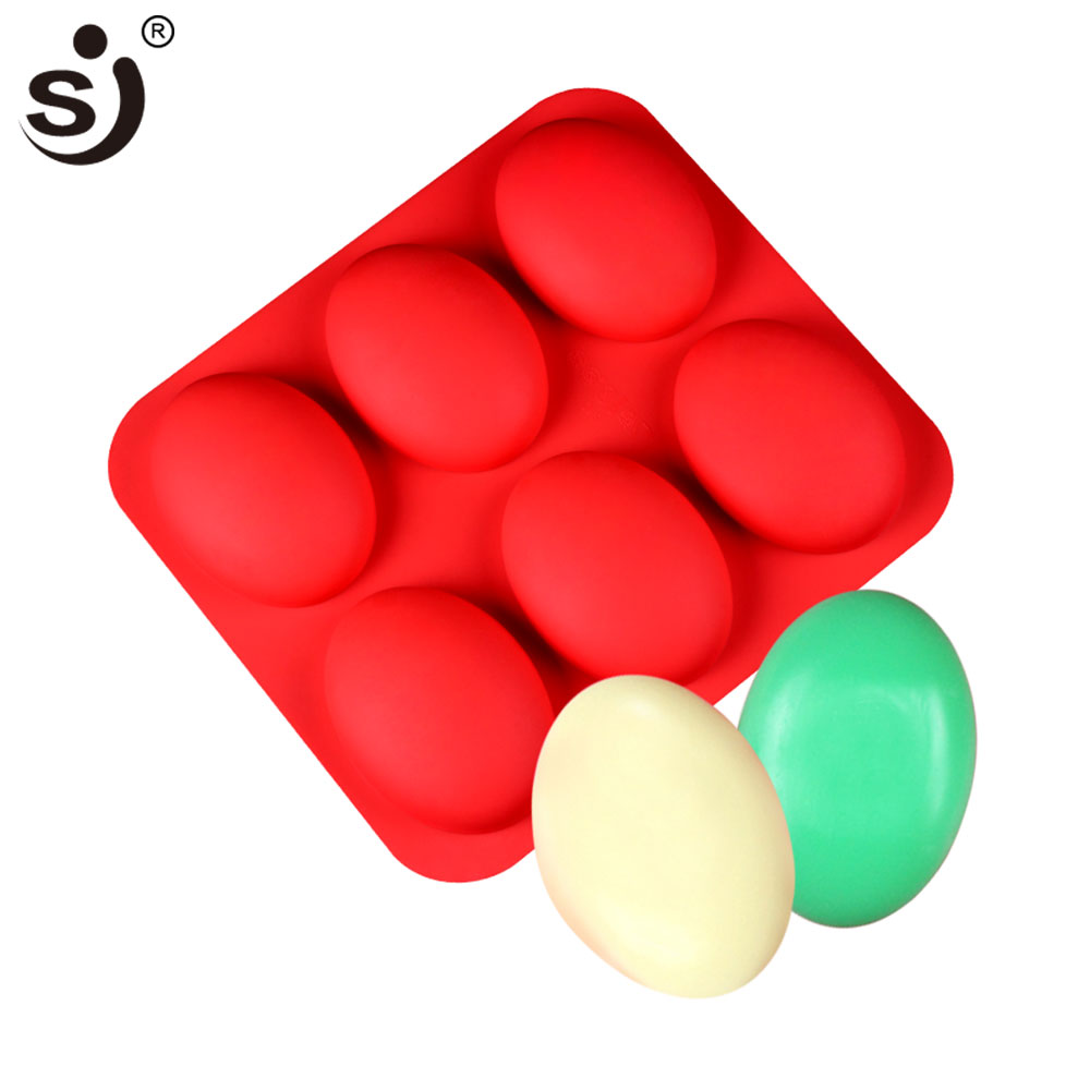 SJ DIY Silicone Molds Soap Mold Oval For Handmade Soap Making Tools 3D 6 Soap Forms