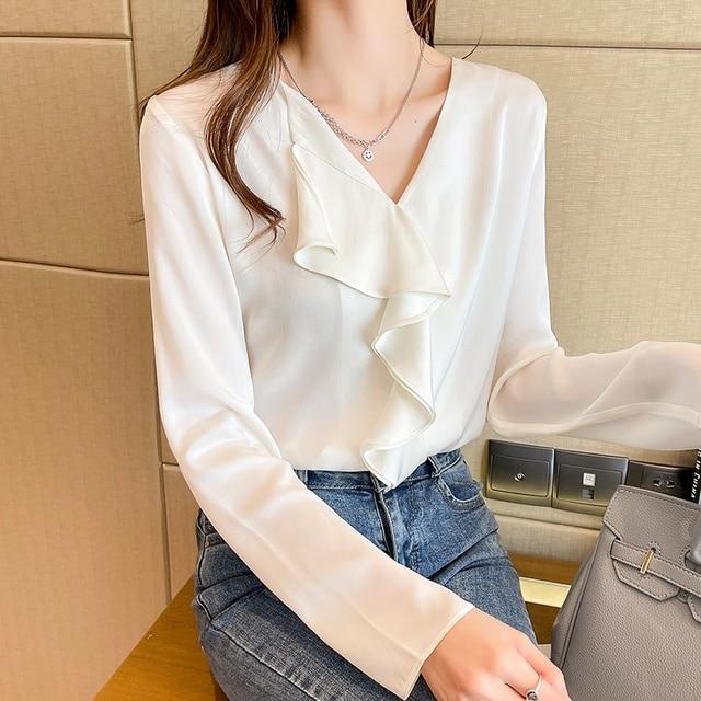 Spring Chiffon Ruffle Blouse Women Fashion V-neck Long Sleeve Top Solid Color Shirts Blouses Blusas 3