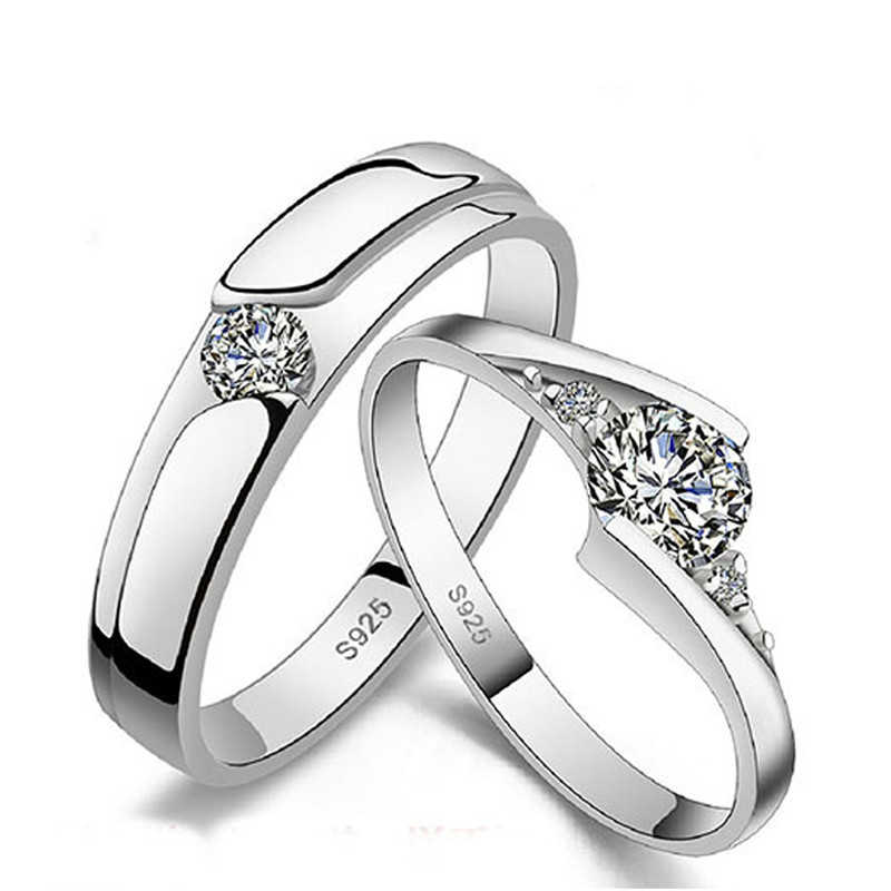 여성을위한 1 쌍 크라운 크리스탈 커플 반지 남성 결혼 반지 은빛 반지 약혼 반지 여성 약속 반지