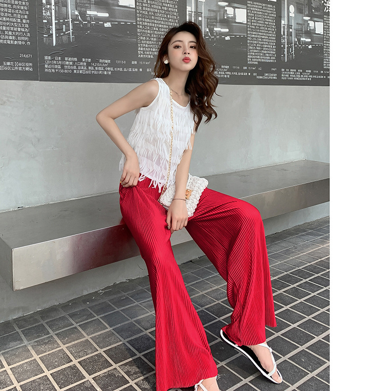 Customizable 2019 New Style Korean-style Set Tassels Sleeveless Vest + Stripes Casual Loose Pants Two-Piece Set F7137