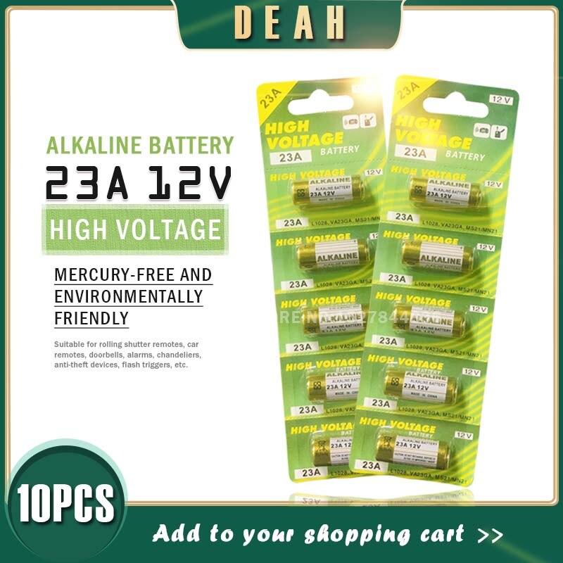 10個新ドライアルカリ電池23A 12v A23ドアベルのための車の警報リモートコントロール21/23 23GA A23 A-23 GP23A RV08 LRV08 E23A V23GA