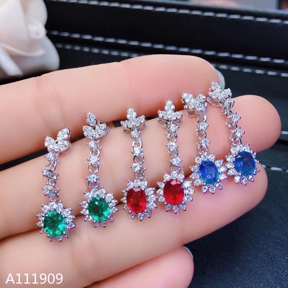 KJJEAXCMY boutique bijoux 925 argent sterling incrusté saphir naturel émeraude rubis femmes boucles d'oreilles soutien détection fine