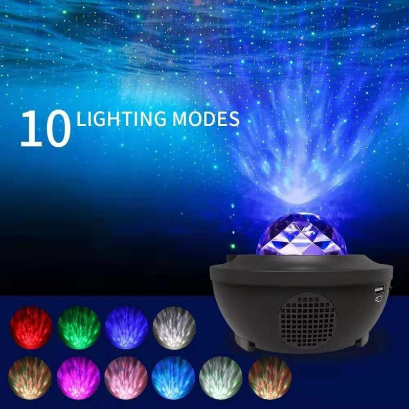 Colorful Projector Starry Sky Night Blueteeth USB Voice Control Music Player Children's Night Light Romantic Ocean Wave Projecti