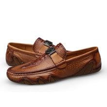 Crocodile Skin Loafer Shoes Men Genuine Leather Slip-on Moccasins Handmade Man Casual Shoes Drive Walk Luxury Leisure
