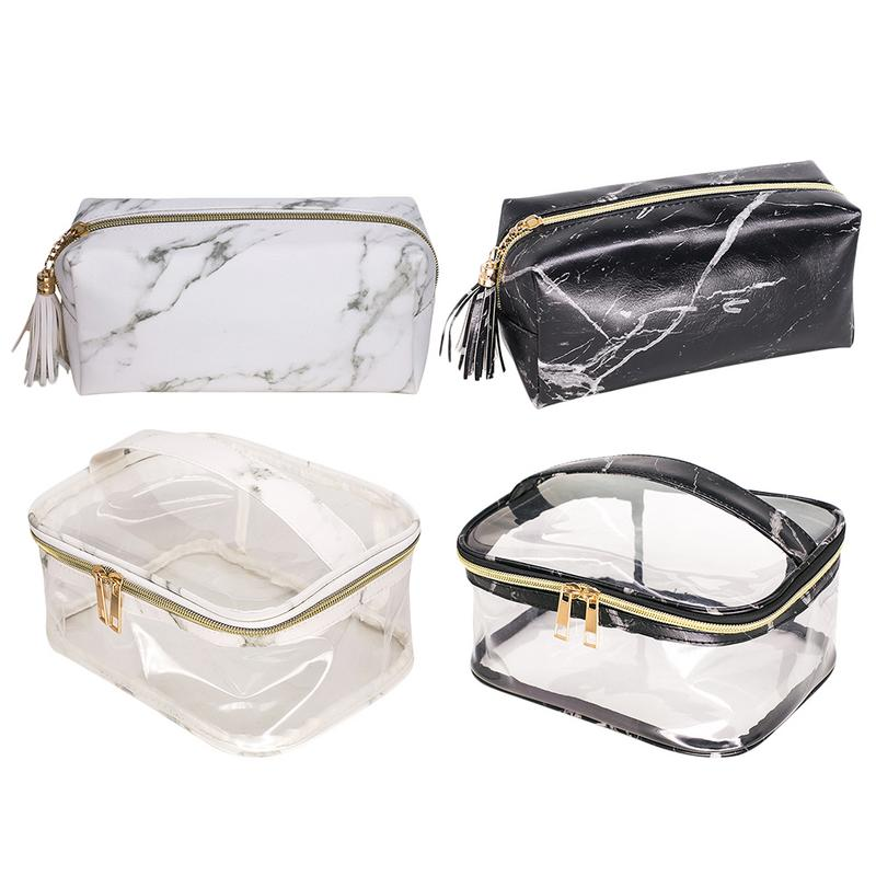 Makeup Cosmetic Storage Bag Marble PVC Clear Transparent Portable Waterproof Toiletry Wash Kit Toilet Bags Organizer For Travel