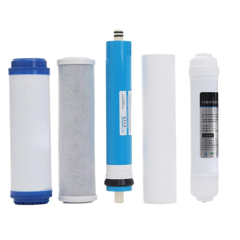 5 шт. 5stage Ro обратного осмоса фильтр Замена картридж для очистки воды оборудование с 50 Gpd мембраны Фильтр для воды комплект