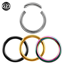 1pc G23 Titanium Hinged Segment Nose Ring 16g&14g Ear Cartilage Tragus Helix Lip Piercing Labret Lip Ring Unisex Fashion Jewelry(China)