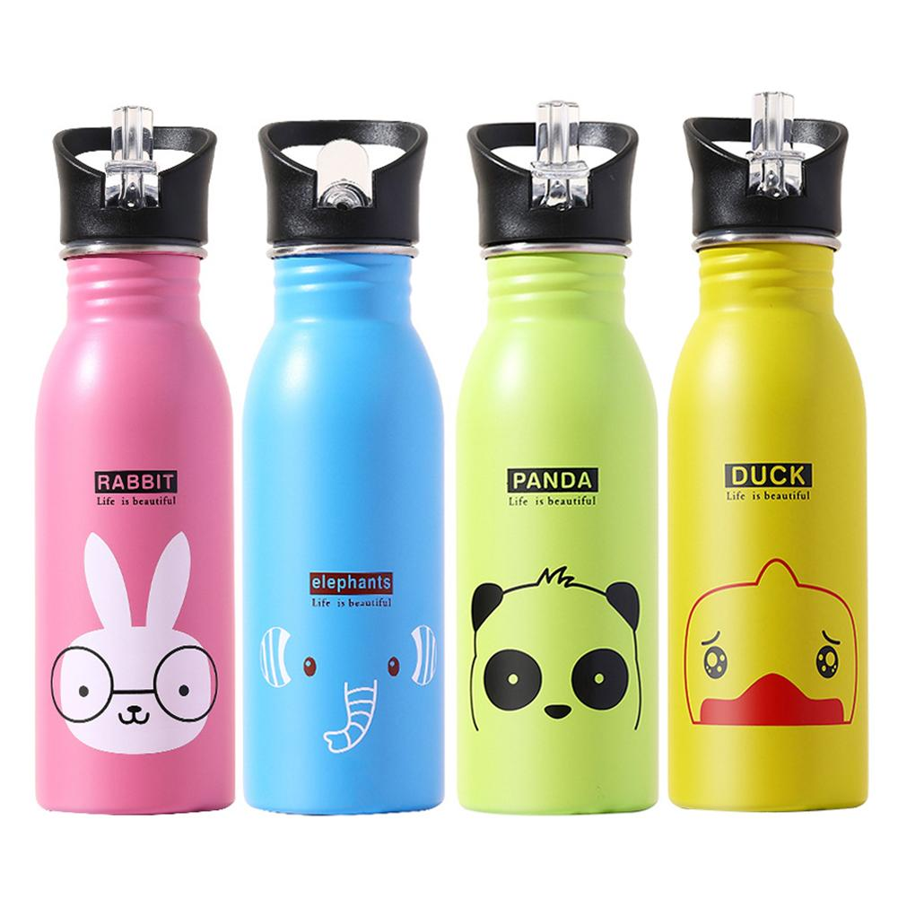 500ml Lovely Cartoon Sports Water Bottles Aluminum Riding Hiking Travel Child School Creative Vacuum Quality Bottle For Kids 4