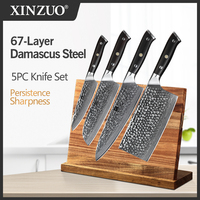 XINZUO 4 PCS Kitchen Cutlery Sets vg10 Damascus Steel Chef Santoku Utility Cleaver Knives Stainless Steel Slicing Meat Cook Tool