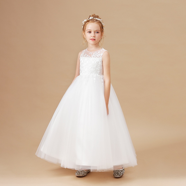 Ball Gown White Flower Girls Dress 2