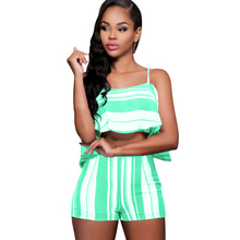 Sexy Off Shoulder Spaghetti Strap Ladies Jumpsuits Elegant Striped Two Pieces Sets Summer Casual Bodycon Beach Wear Overalls