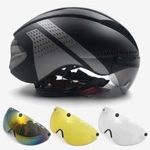 Casco aerodinámico tt para hombre y mujer, Casco de Bicicleta de carretera de carreras con lentes, equipo de Ciclismo