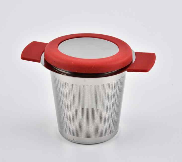 الفولاذ المقاوم للصدأ الشاي المساعد على التحلل قفل سبايس مصفاة شاي قابلة لإعادة الاستخدام شبكة الشاي الكرة فلتر فضفاض الشاي التوابل مصفاة غطاء وشملت