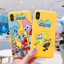 Cute Happy SpongeBob Family for iPhone 7 8 6 6S Plus X XR XS Max Mobile