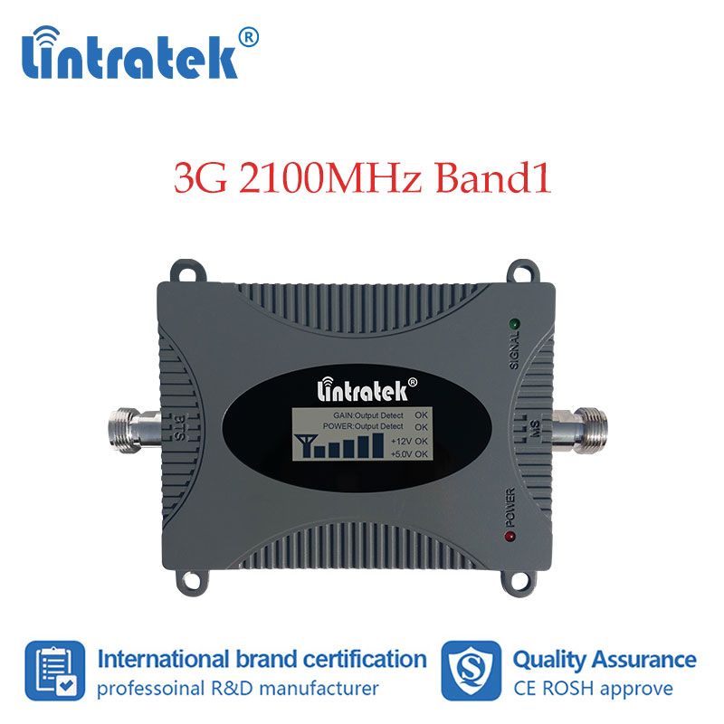 Lintratek 3G Cellular Booster 2100MHz Cell Phone Signal Repeater Internet Data Communication Amplifier 2100 WCDMA LCD Display dd Signal Boosters     - title=