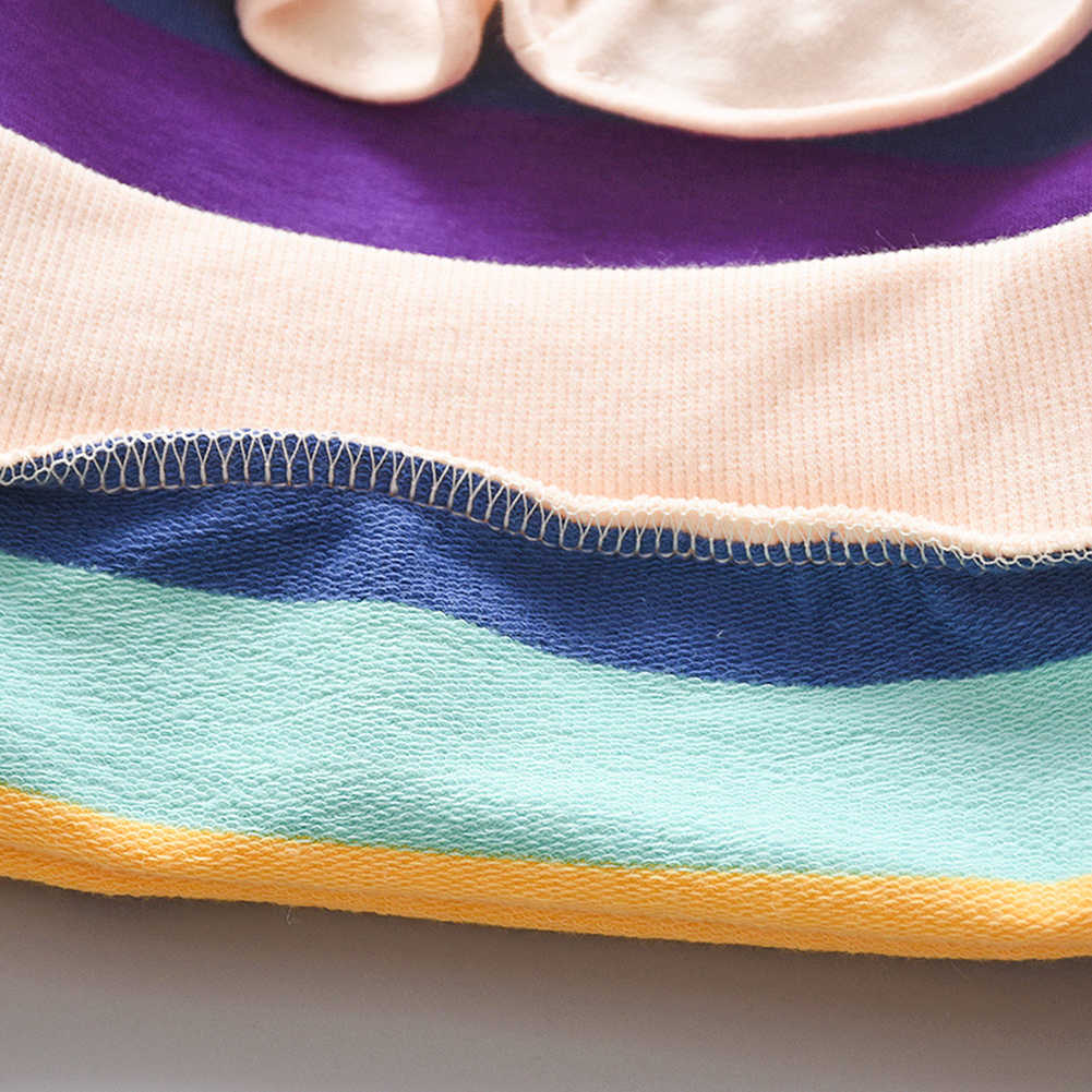 เสื้อกันหนาวเด็กแฟชั่นเด็กทารกเด็กเสื้อผ้าลูกไม้โบว์ยาวแขนยาว Multi-สีลาย Rainbow Hoodies เสื้อ 0 -2T