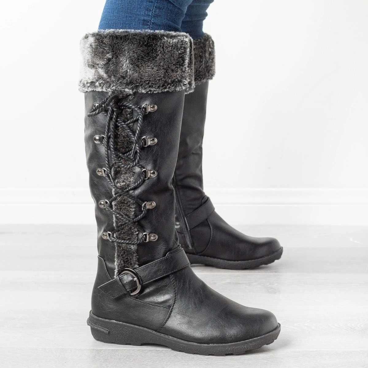 SFIT kobieta koronka-Up wysokie buty casual zimowe ciepłe pluszowe Gladiator długie botki Lady gruby obcas platformy Sapatos Feminino