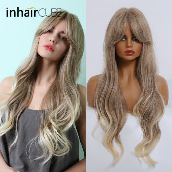 цена на Inhaircube  Blonde  Cosplay Wig Long Water Wave  Synthetic Wigs With Bangs Lolita Hair High tempreture Fiber Free Shipping