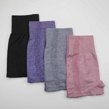 W nowym stylu wysokiej talii bezszwowe legginsy spodenki gimnastyczne fitness joga krótkie szorty sportowe do jogi spodenki do jogi spandex różowe krótkie spodnie tanie i dobre opinie HACXL WOMEN NYLON CN (pochodzenie) 20106-3 Yoga Dobrze pasuje do rozmiaru wybierz swój normalny rozmiar Stałe