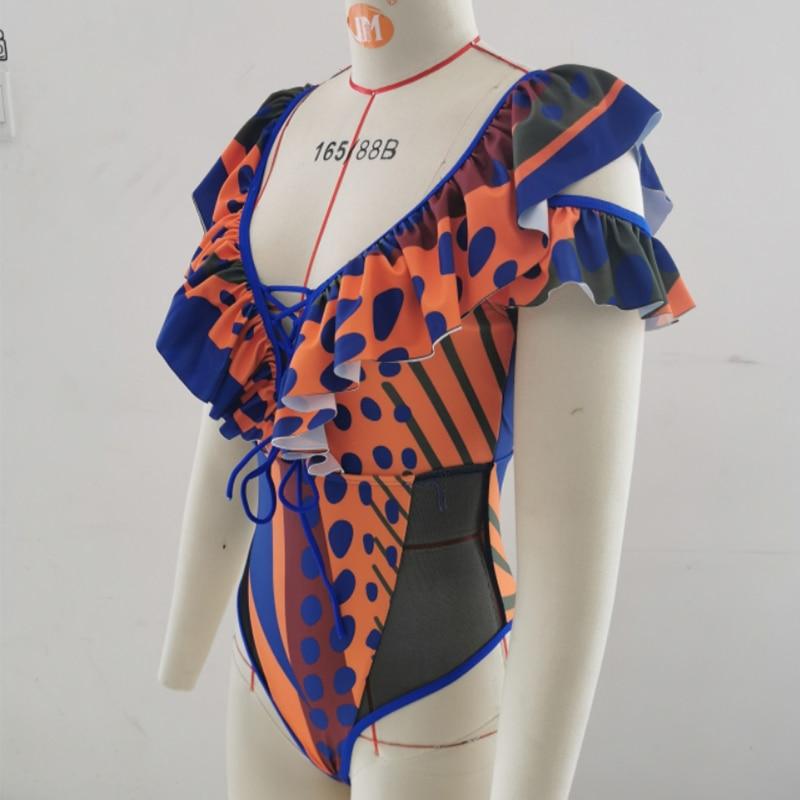 African Swimsuit One Piece Swimwear Push Up Monokini Ruffled V Neck Bodysuit