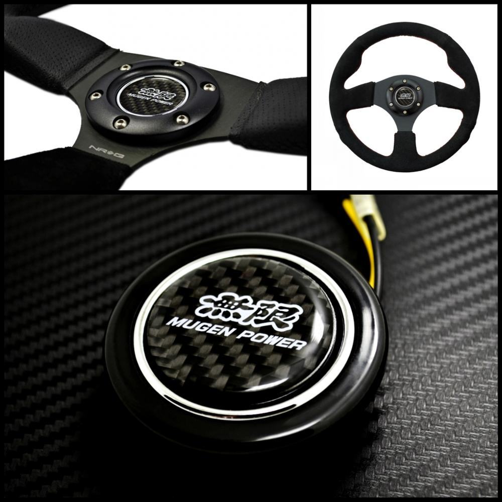 Emblema de fibra de carbono, botón de bocina de volante para Honda
