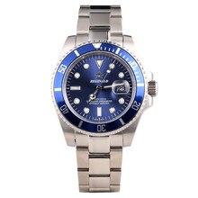 רג ינלד שעון גברים GMT לוח Rotatable יפן Miyota 2115 Movt מלא נירוסטה קוורץ שעונים relogio masculino