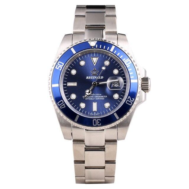 REGINALD Uhr Männer GMT Drehbare Lünette Japan Miyota 2115 Movt Volle edelstahl Quarz Uhren relogio masculino
