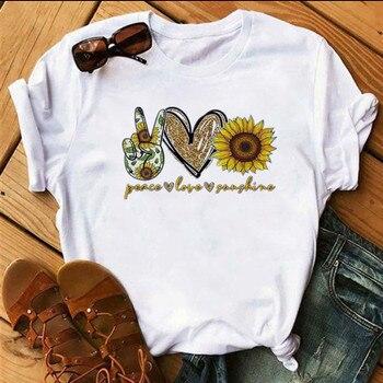 Sunflower Print T shirt Women Vogue Harajuku Peace Love Sunshine Tops Tshirt Girl Casual Tee Female T-Shirts Woman Clothing 1