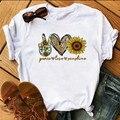 Футболка женская с принтом подсолнуха, модный топ в стиле Харадзюку, мир, любовь, солнечный свет, Повседневная рубашка для девушек, женская о...