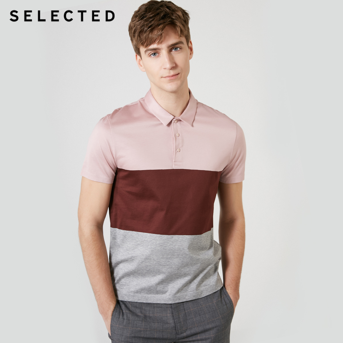 SELECTED Spliced Colored Short-sleeved Turn-down Collar Poloshirt S|419206530