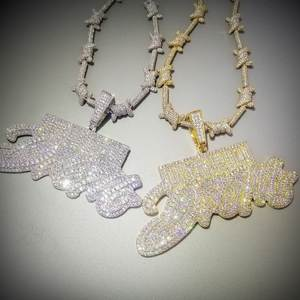 RICH Pendant Necklace Jewelry Aaa Zircon Letters-Dream Rapper Hip-Hop Iced-Out Bling