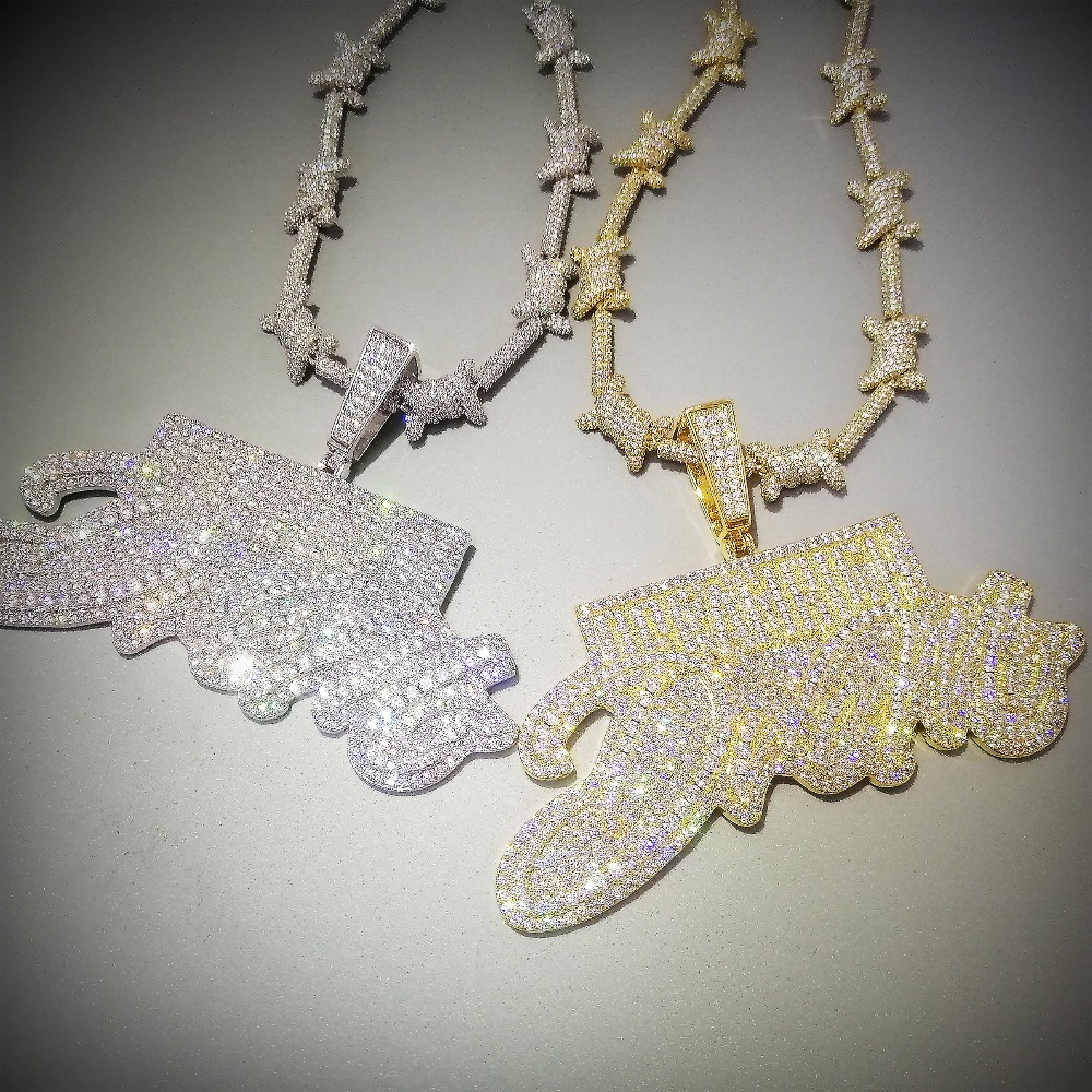 Bling Iced Out Letters DREAM RICH Pendant Necklace 2 Colors Luxury AAA Zircon Rapper Hip Hop Jewelry