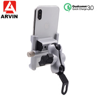 Aluminum Motorcycle Phone Holder QC3.0 Quick charge Moto Handlebar Rearview Bracket Stand for 4 6.5 inch Mobile Phone Mount