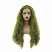 цена на Long Wavy Synthetic Lace Front Wig with Baby Hair Glueless Green High Temperature Heat Resistant Fiber Hair Wigs For Women