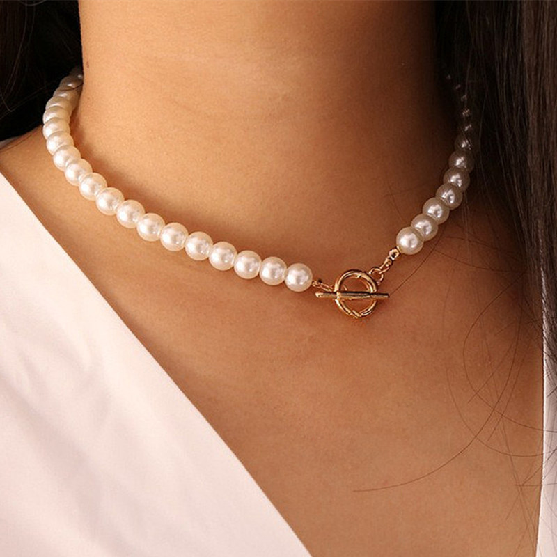 Goth Pearl Choker Necklace Gold Color Lasso Pendants Women Jewelry On The Neck Chain Beads Necklace Chocker Collar For Girl Kpop