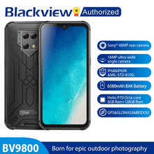 "Blackview BV9800 Android 9.0 Telefoon 6.3 ""Smartphone IP68 & IP69K Robuuste Helio P70 Octa Core 6Gb + 128gb 48MP Camera Draadloos Opladen"