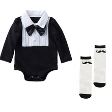 Baby Boy Bodysuit Clothes White Tuxedo jumpsuits onsie Long Sleeve 1st Birthday