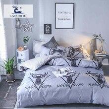 Liv-Esthete 2019 Fashion Cartoon Deer Bedding Set Soft Printed Duvet Cover Pillowcase Double Queen King Bed Linen Flat Sheet