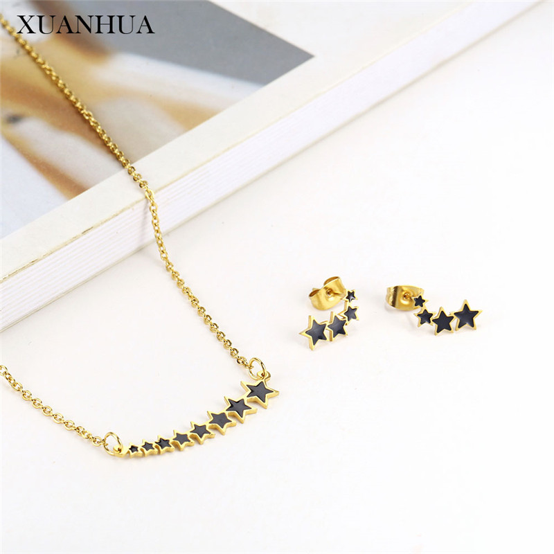 XUANHUA Stainless Steel Jewelry Sets For Woman Star Necklace Set Of Earrings Female Jewellery Summer Accessories Free Shipping
