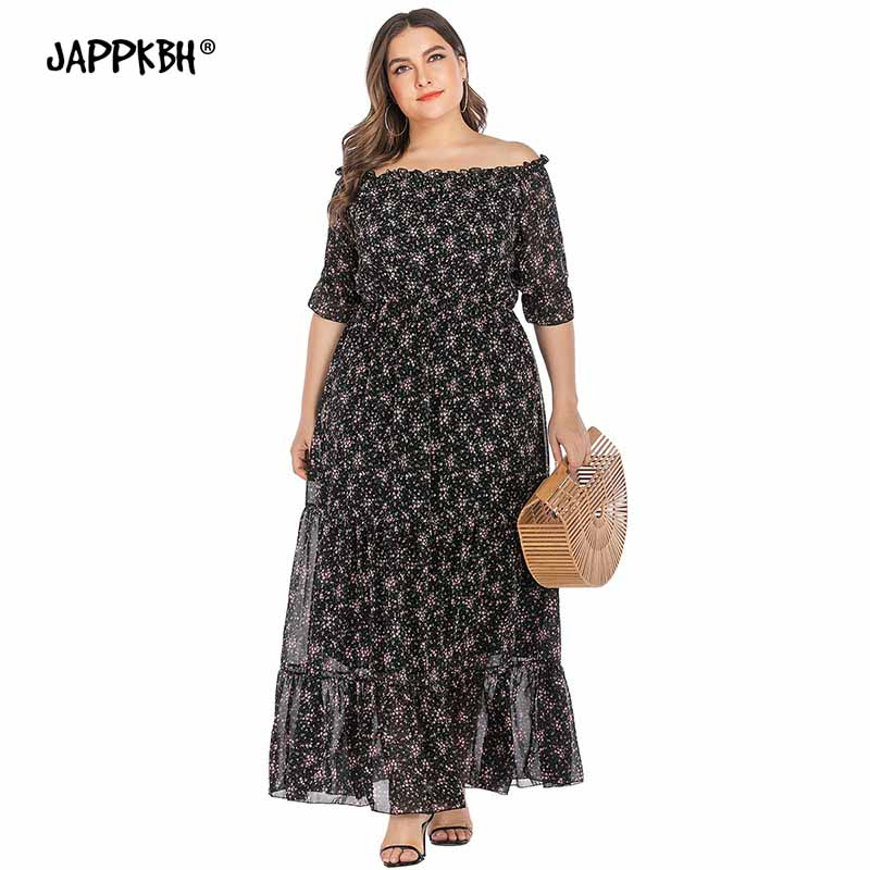 Summer <font><b>Dress</b></font> Women 2020 Casual Plus Size Slim Chiffon <font><b>Boho</b></font> <font><b>Beach</b></font> Maxi <font><b>Dresses</b></font> <font><b>Elegant</b></font> <font><b>Sexy</b></font> Slash Neck Ruffles Long Party <font><b>Dress</b></font> image