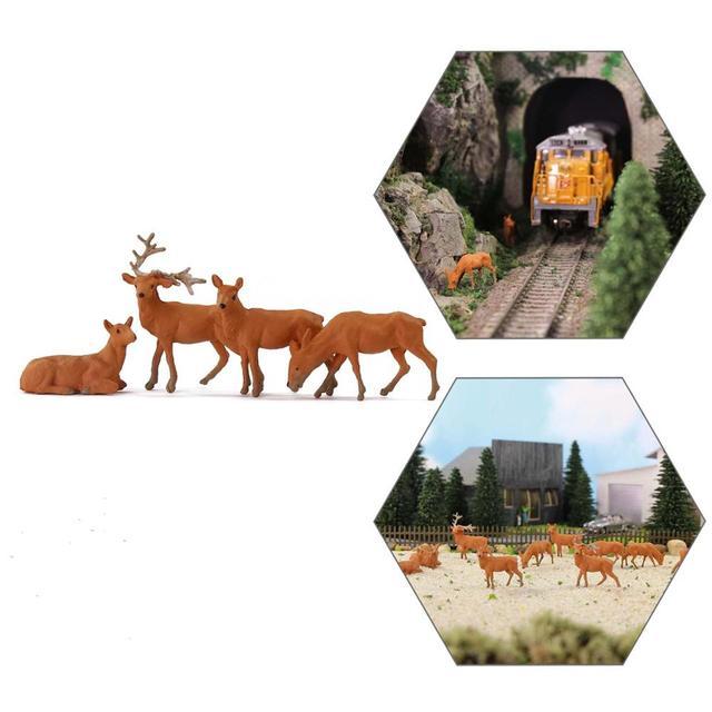 12pcs/24pcs Model Railway HO Scale 1:87 Painted Wild Animal Moose Elk PVC Model Deer AN8714 1
