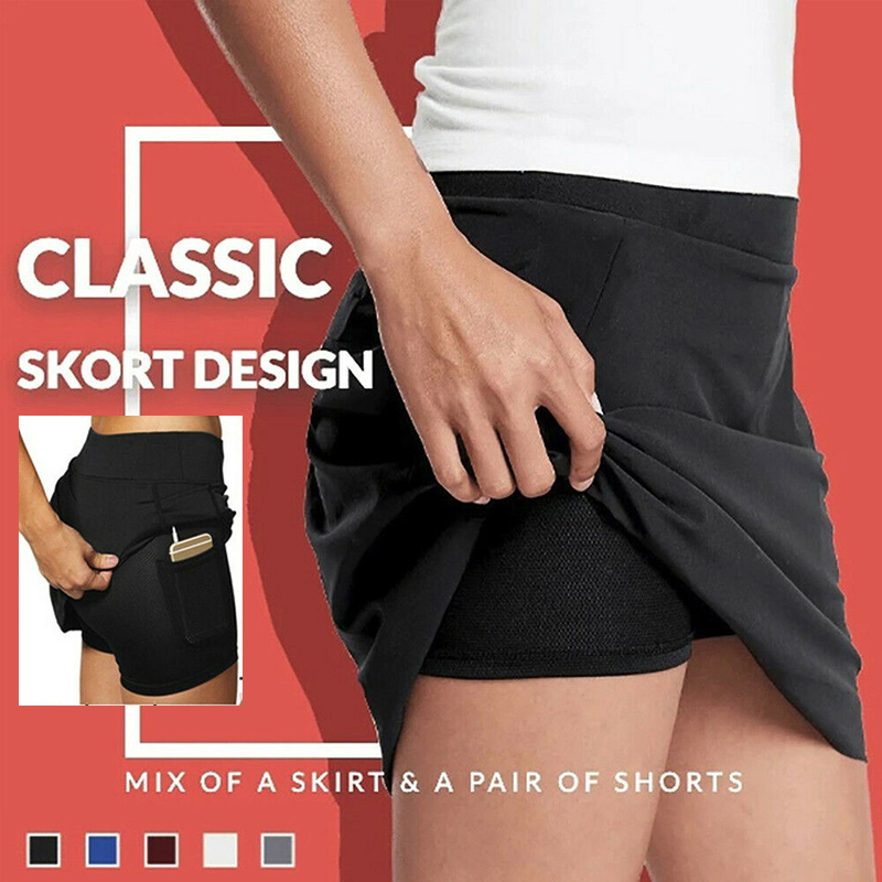 Skorts With Pocket Workout Pleated High Waist Anti-Chafing Breathable Casual For Women Lady Fitness Cycling Shorts  D88